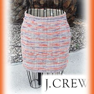 J CREW Cotton Silk Woven Straight Mini Skirt  w/Po